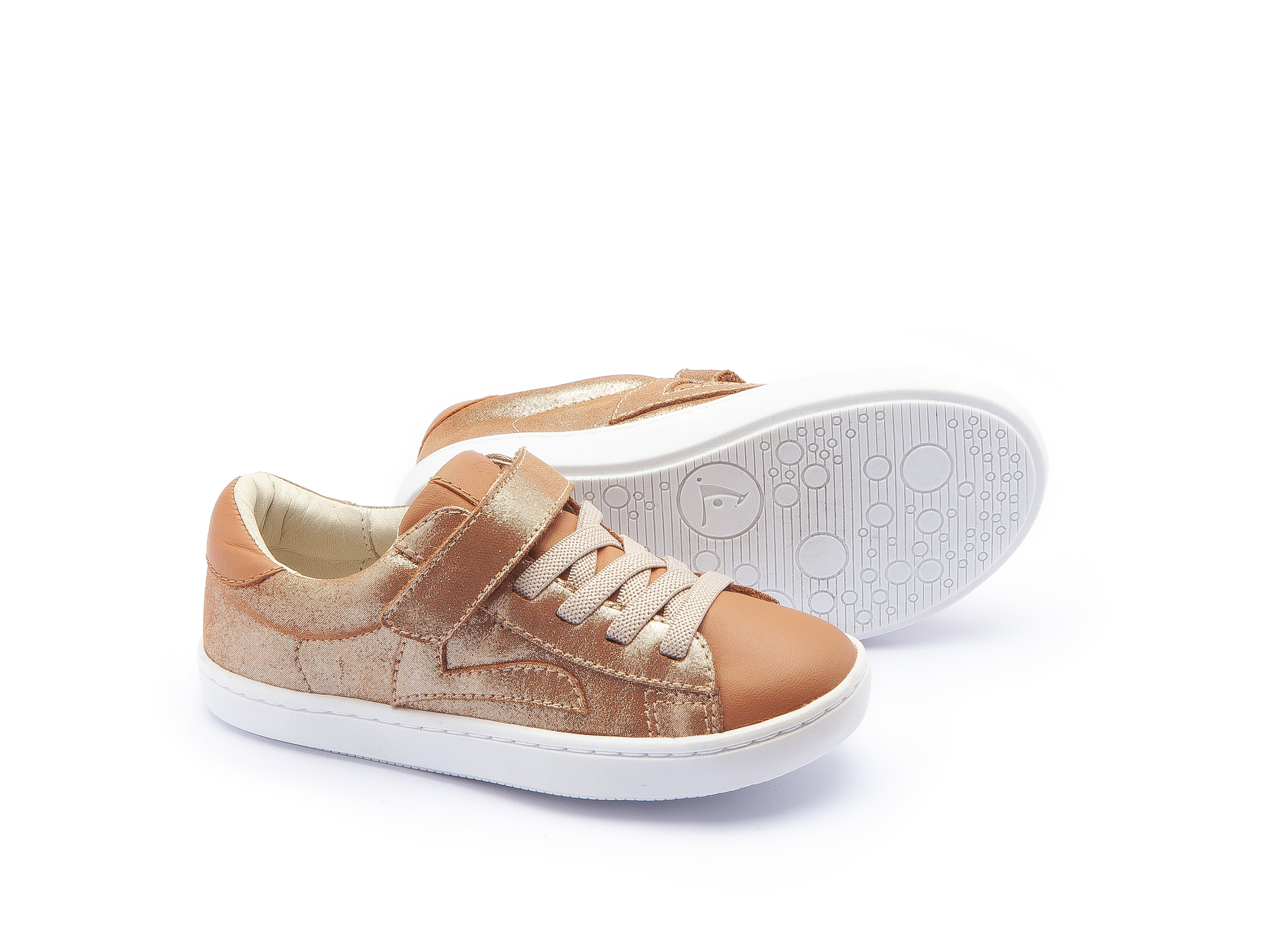 Sneaker Casual Little Skid Mica Gold/ Amendoim Toddler 2 à 4 anos - 2